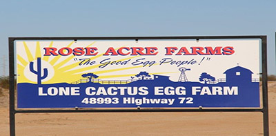 Rose Acre Farms Sign